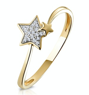 STELLATO COLLECTION SHOOTING STAR DIAMOND RING IN 9K GOLD