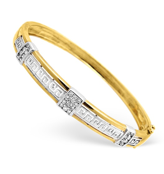 9K Two Tone Diamond Design Bangle 0.76ct