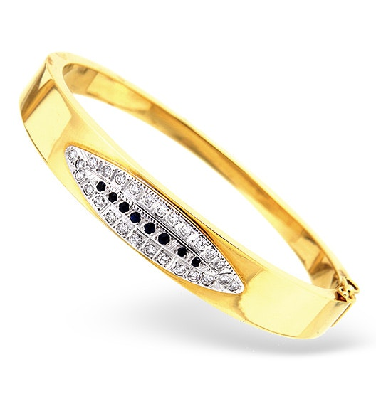 18K Gold Diamond and Sapphire Design Bangle 0.50CT