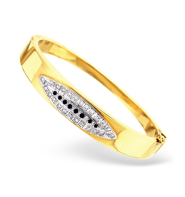 18K Gold Diamond and Sapphire Design Bangle 0.50CT - image 1