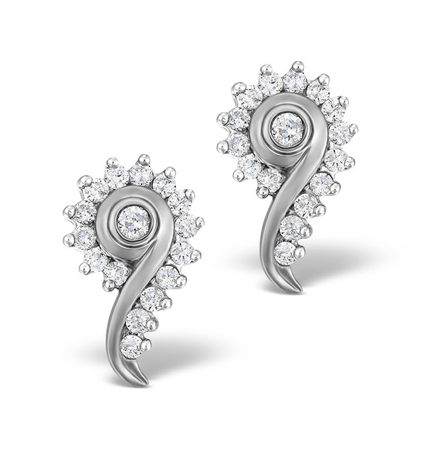 Diamond 0.40ct 9K White Gold Earrings - RTC-EG232Y - image 1