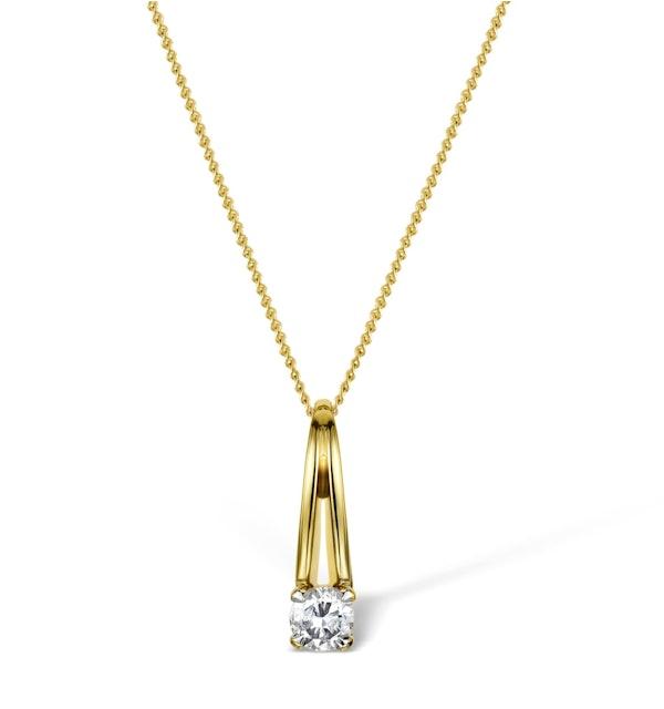 Diamond 0.15ct 9K Gold Single Stone Pendant - RTC-EG248 - image 1