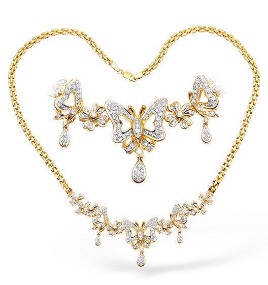 18K Gold Diamond Butterfly Design Necklace 1.50ct 16Inches