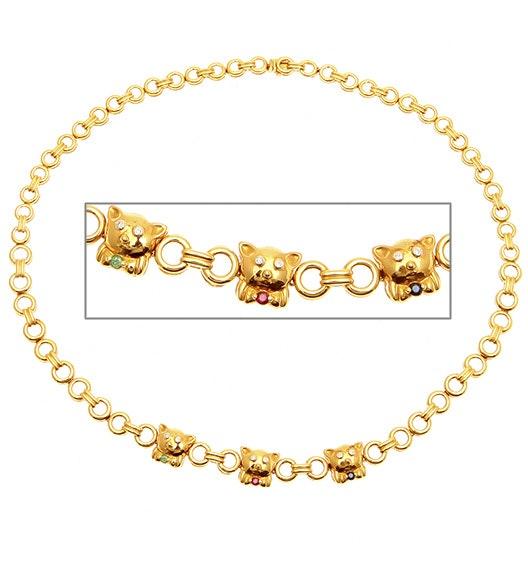 18KY Diamond Multi Stone Teddy Bear Necklace 0.10CT 16Inches