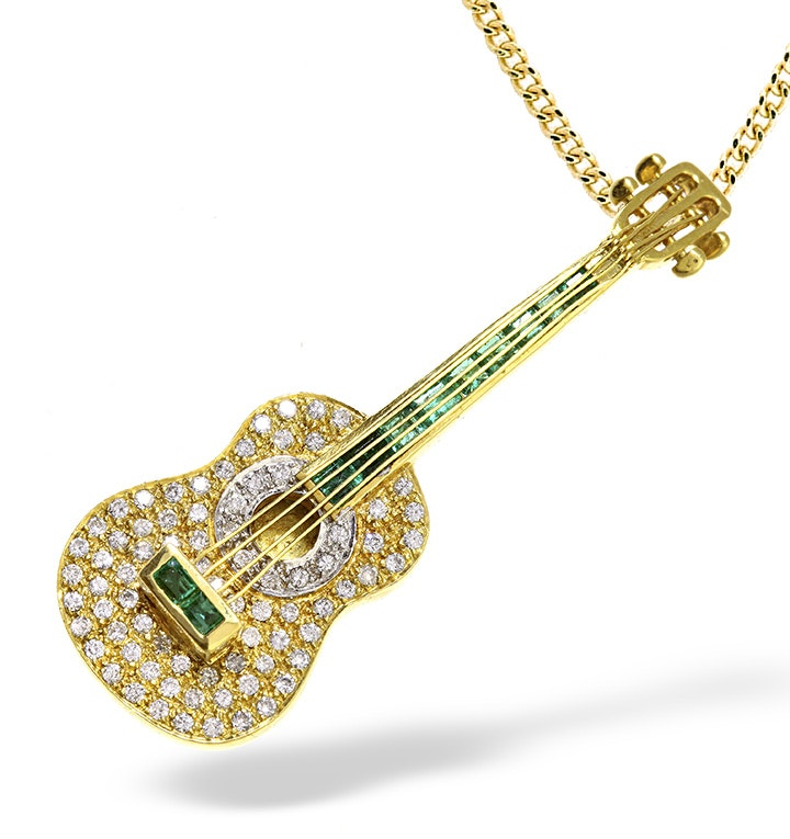 18K Gold Pave Diamond and Emerald Guitar Brooch - Pendant