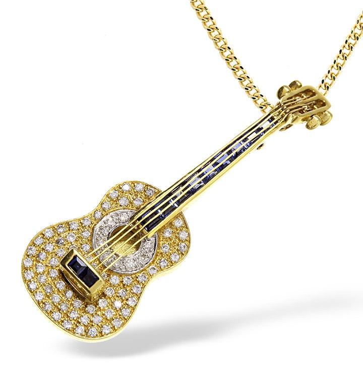 18K Gold Pave Diamond and Sapphire Guitar Brooch - Pendant