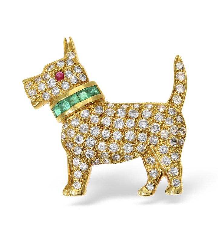 18K Gold Diamond Ruby and Emerald Dog Brooch