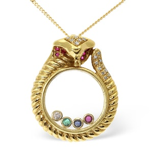 18K GOLD DIAMOND AND MULTI STONE FLOATING PENDANT