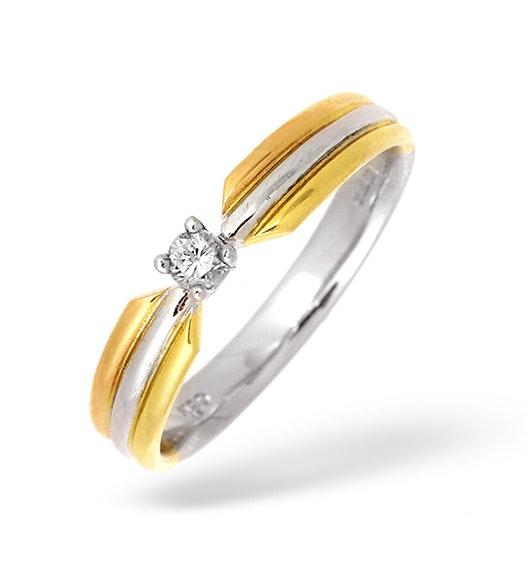 18K Three Tone Diamond Solitaire Ring 0.10CT