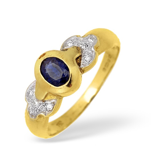 18K Gold Rubover Sapphire Ring with Diamond Shoulder Detail 0.10CT