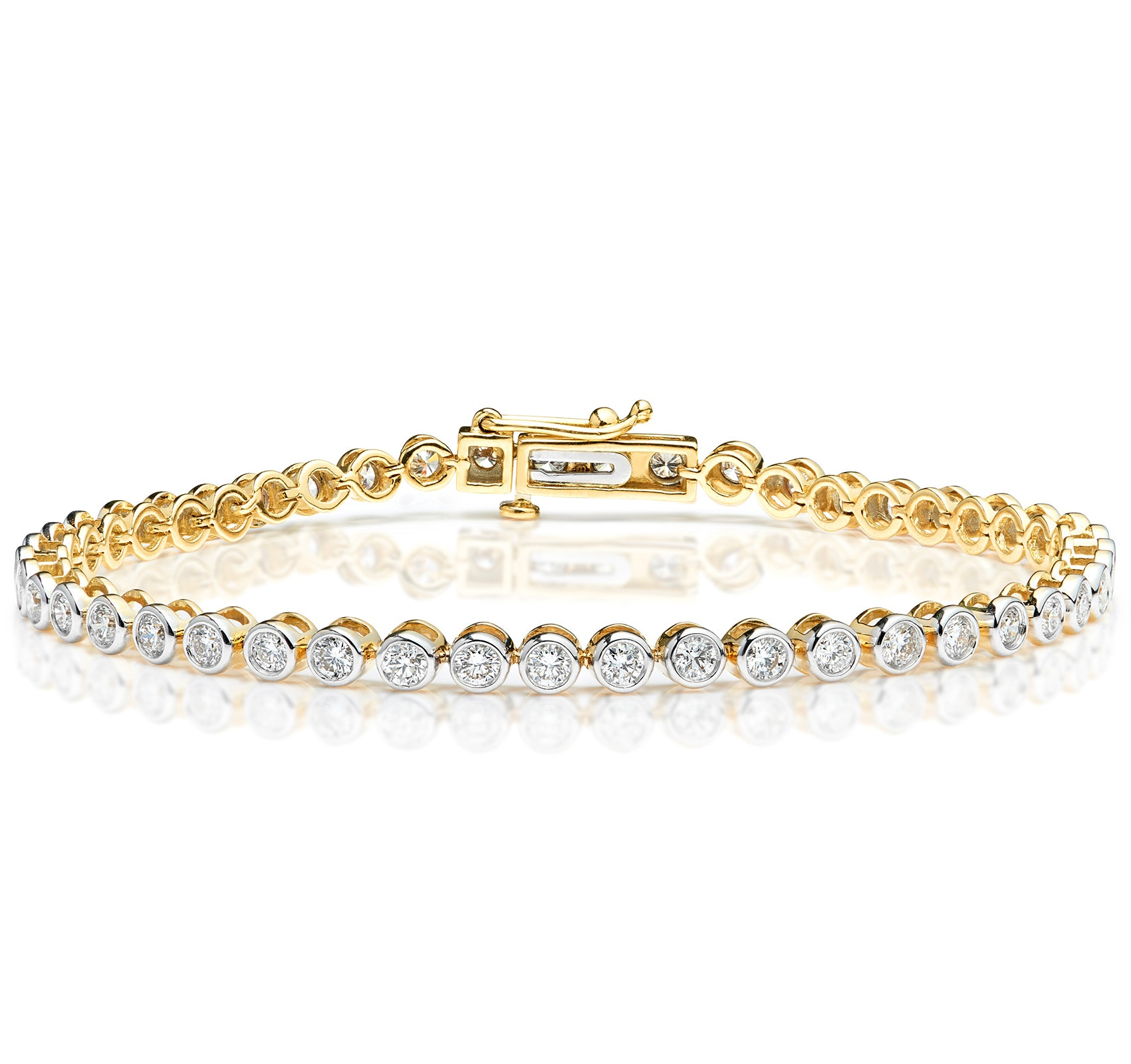 Diamond Tennis Bracelet Rubover Set 3.00ct H/Si in 18K Gold
