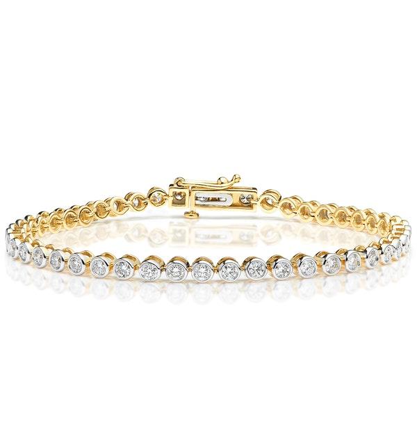 Diamond Tennis Bracelet Rubover Set 3.00ct H/Si in 18K Gold - image 1
