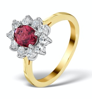 PINK TOURMALINE 0.80CT AND DIAMOND HALO RING IN 18K GOLD - FET25