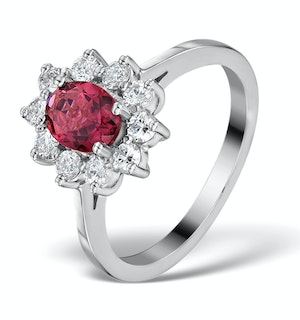 PINK TOURMALINE 0.80CT AND DIAMOND HALO RING 18K WHITE GOLD - FET25