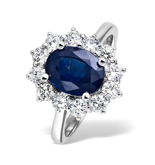 Platinum Sapphire 2.30ct And Diamond 1.00ct Ring - image 1