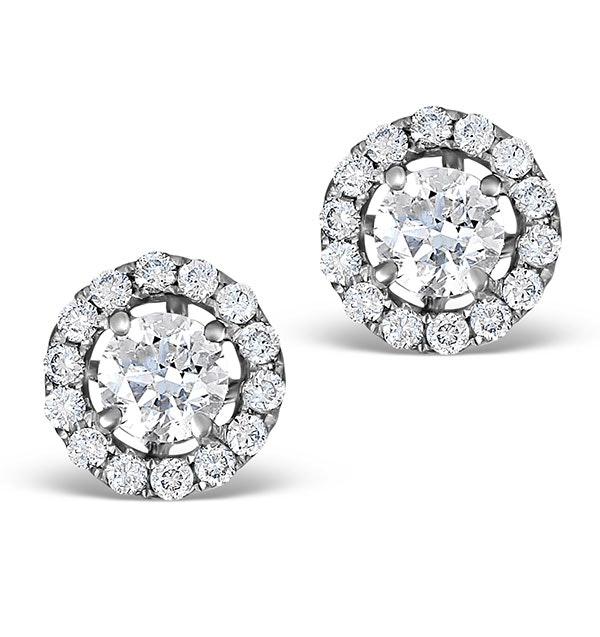 Halo Diamond Earrings - Ella 18K White Gold 0.84ct H/SI  FG26
