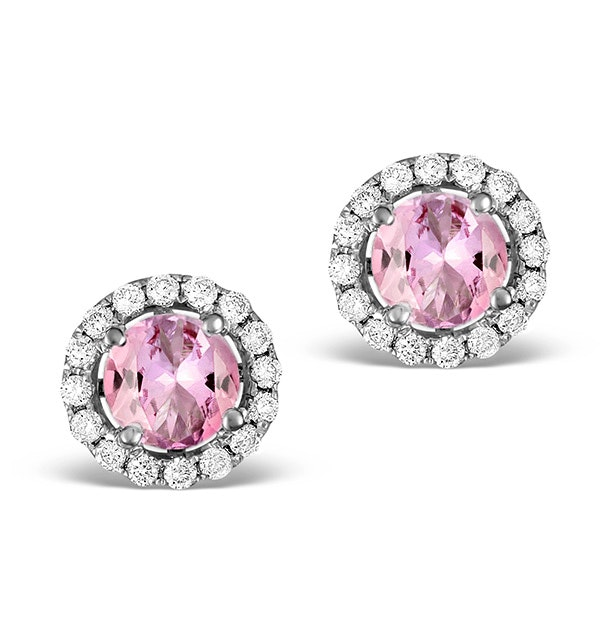 Diamond Halo Pink Sapphire Earrings - 18K White Gold FG27-RUY - image 1