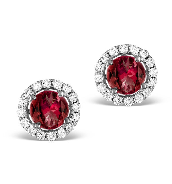 Diamond Halo Ruby Earrings 0.65CT - 18K White Gold FG27-TY - image 1