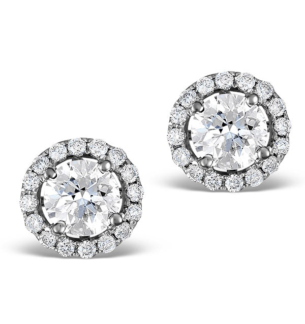 Halo Diamond Earrings - Ella 18K White Gold 1.34ct G/Vs  FG27-XUY