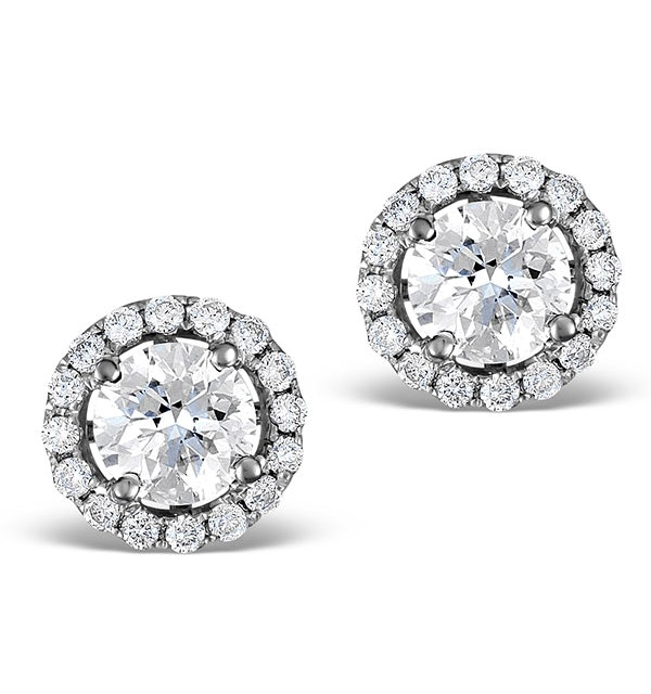 Halo Diamond Earrings - Ella 18K White Gold 1.34ct G/Vs  FG27-XUY - image 1