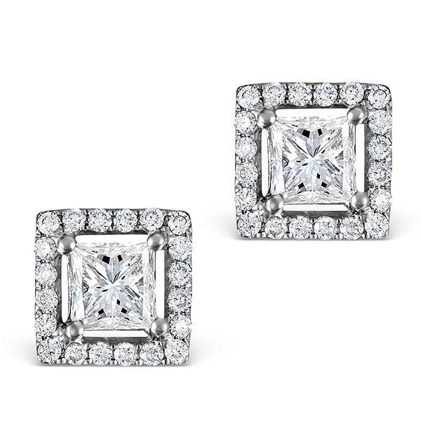 Halo Diamond Earrings - Ella Princess Cut 18K White Gold 1.40ct H/Si
