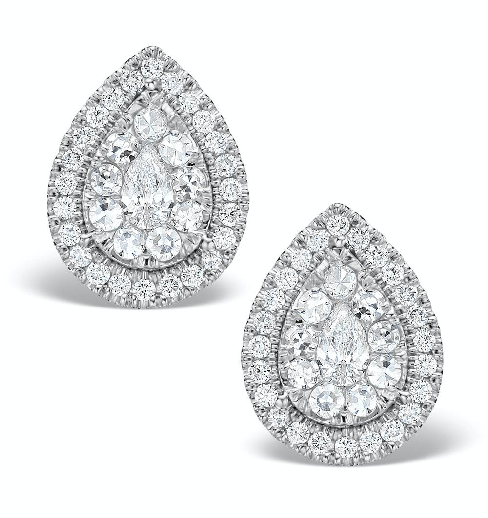 Halo Diamond Earrings 1.20ct Pear Shaped Galileo in 18K White Gold