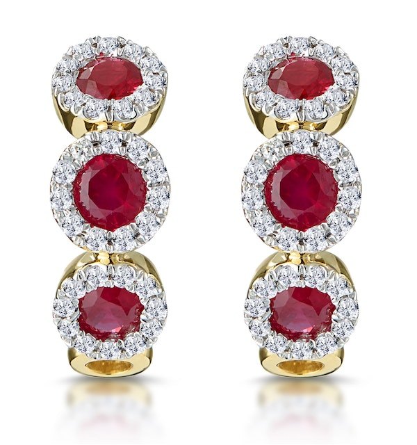 Ruby and Diamond Trilogy Earrings in 18K Gold - Asteria Collection - image 1