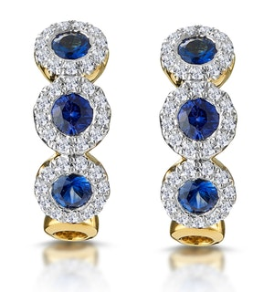 SAPPHIRE AND DIAMOND TRILOGY EARRINGS IN 18K GOLD - ASTERIA COLLECTION