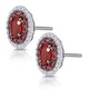 Ruby and Diamond Halo Earrings in 18K White Gold - Asteria Collection - image 3
