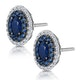 Sapphire and Diamond Halo Earrings 18K White Gold - Asteria Collection - image 3