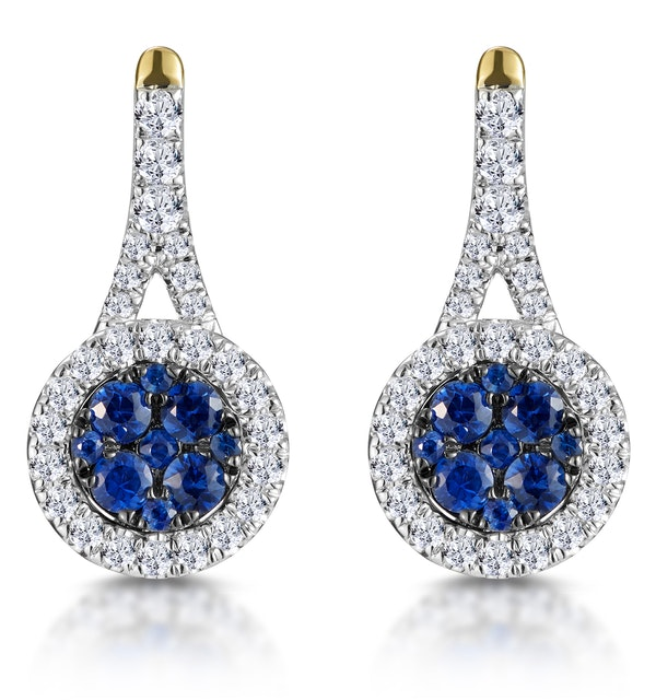 0.75ct Sapphire and Diamond Halo Earrings 18K Gold Asteria Collection - image 1