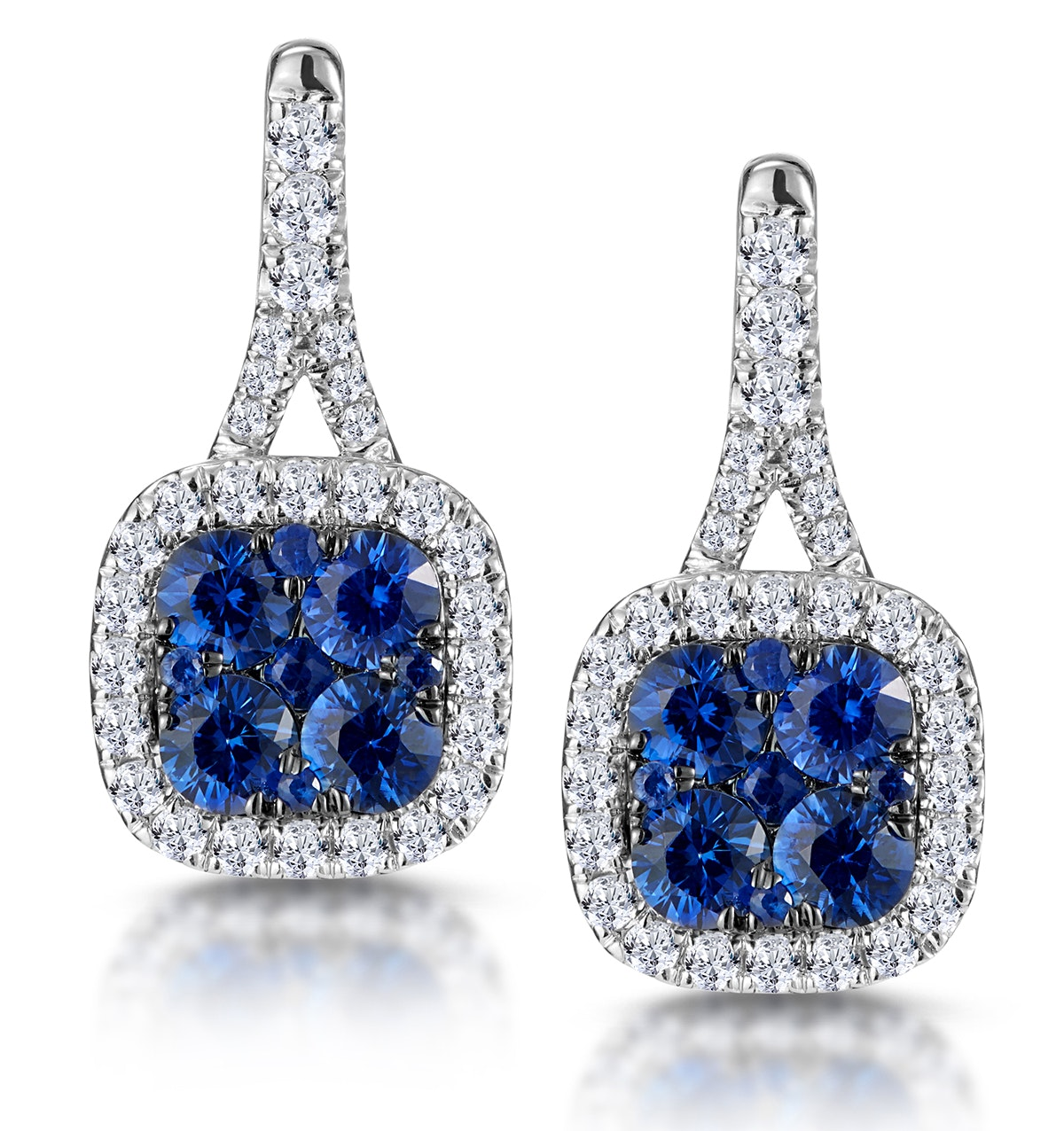 1ct Sapphire and Diamond Halo Earrings 18KW Gold - Asteria Collection