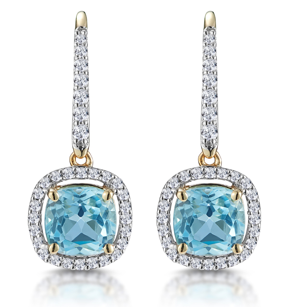 1ct Blue Topaz and Diamond Halo Earrings 18K Gold - Asteria Collection