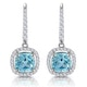 1ct Blue Topaz and Diamond Halo Earrings 18KW Gold Asteria Collection - image 1