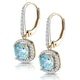 1ct Blue Topaz and Diamond Halo Earrings 18K Gold - Asteria Collection - image 3