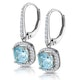 1ct Blue Topaz and Diamond Halo Earrings 18KW Gold Asteria Collection - image 3