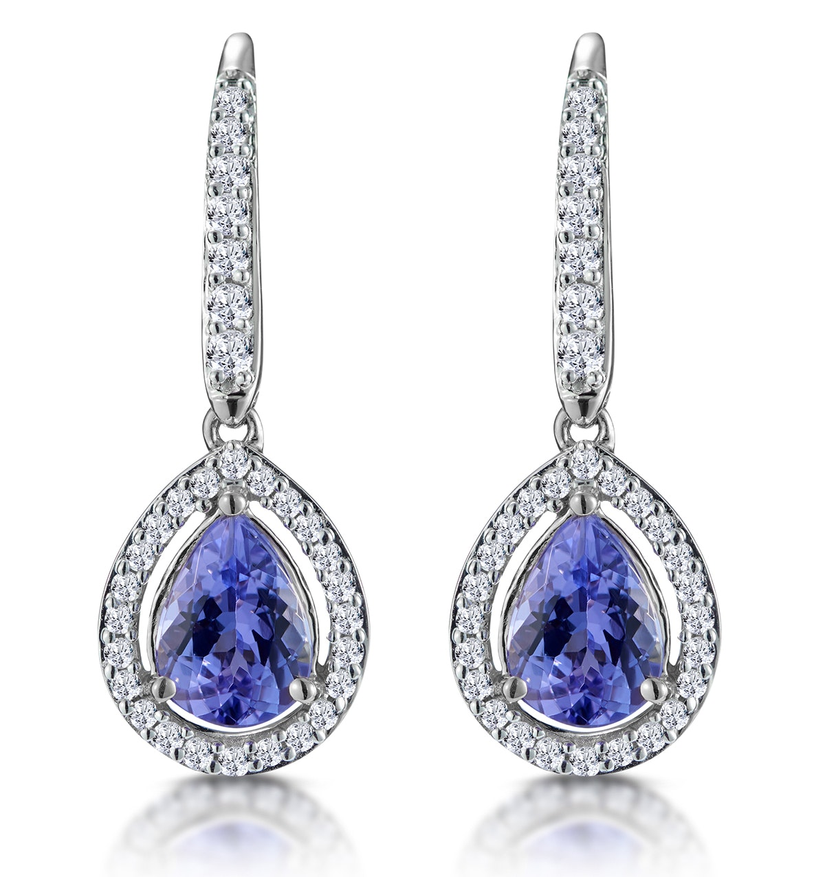 1.4ct Tanzanite and Diamond Halo Earrings 18KW Gold Asteria Collection