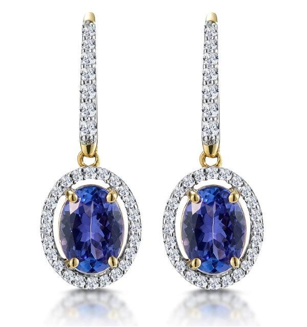 1.6ct Tanzanite and Diamond Halo Earrings 18K Gold Asteria Collection - image 1
