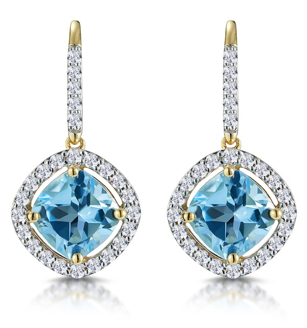 2.5ct Blue Topaz and Diamond Halo Earrings 18K Gold Asteria Collection - image 1