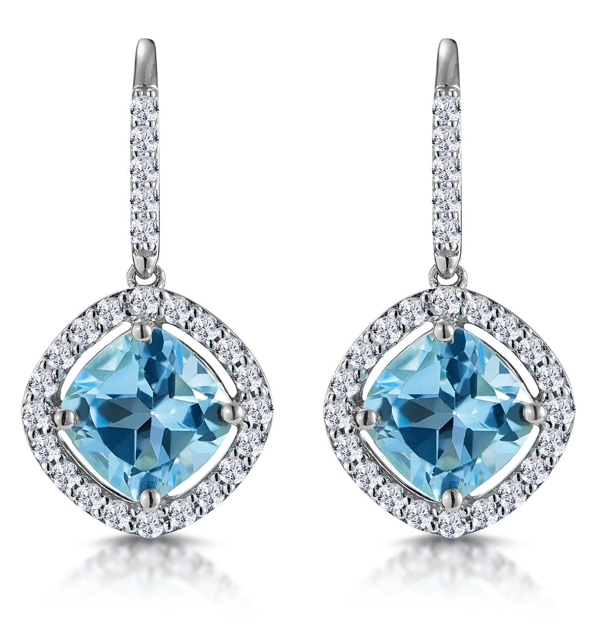 2.5ct Blue Topaz and Diamond Halo Asteria Earrings 18K White Gold