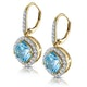 2.5ct Blue Topaz and Diamond Halo Earrings 18K Gold Asteria Collection - image 3