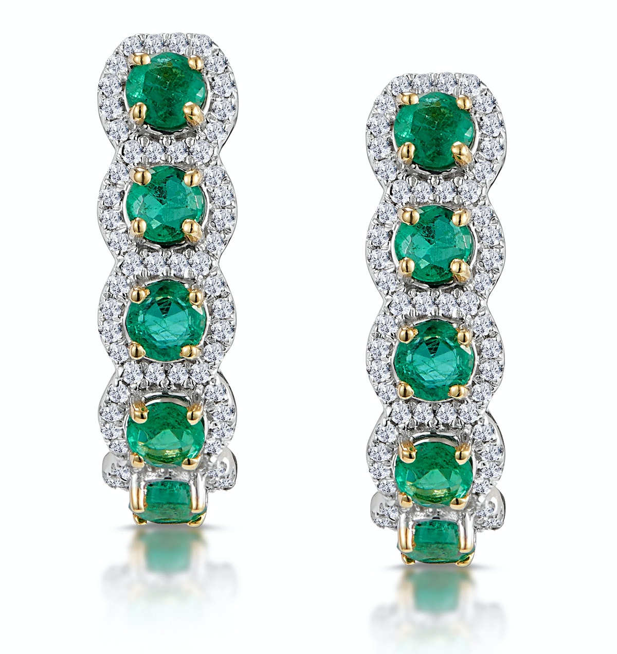 1.20ct Emerald and Diamond Halo Asteria Earrings in 18K Gold