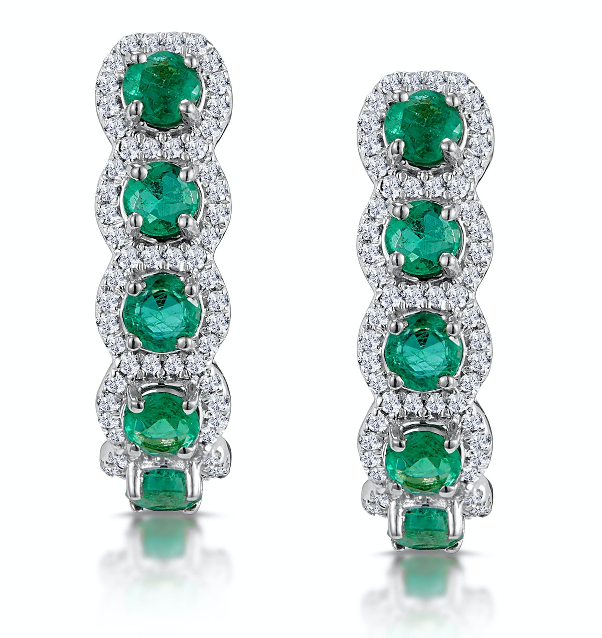 1.20ct Emerald and Diamond Halo Asteria Earrings in 18K White Gold