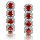 1.50ct Ruby and Diamond Halo Asteria Earrings in 18K Gold - image 1