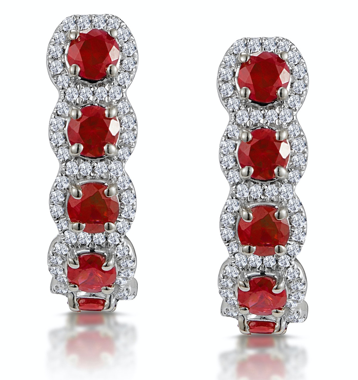 1.50ct Ruby and Diamond Halo Asteria Earrings in 18K White Gold