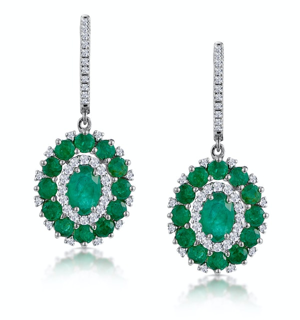 2.50ct Emerald Asteria Diamond Drop Earrings in 18K White Gold - image 1