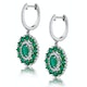 2.50ct Emerald Asteria Diamond Drop Earrings in 18K White Gold - image 2