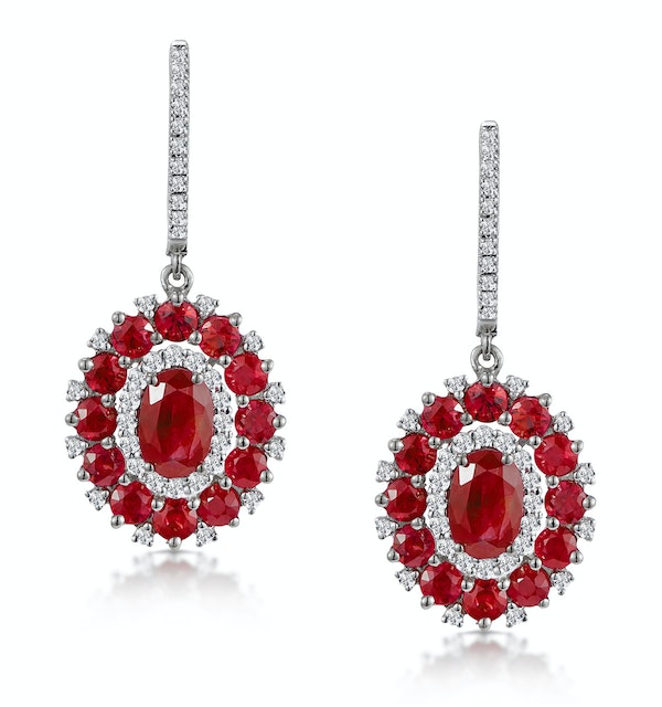 2.50ct Ruby Asteria Diamond Drop Earrings in 18K White Gold - image 1