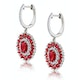 2.50ct Ruby Asteria Diamond Drop Earrings in 18K White Gold - image 2
