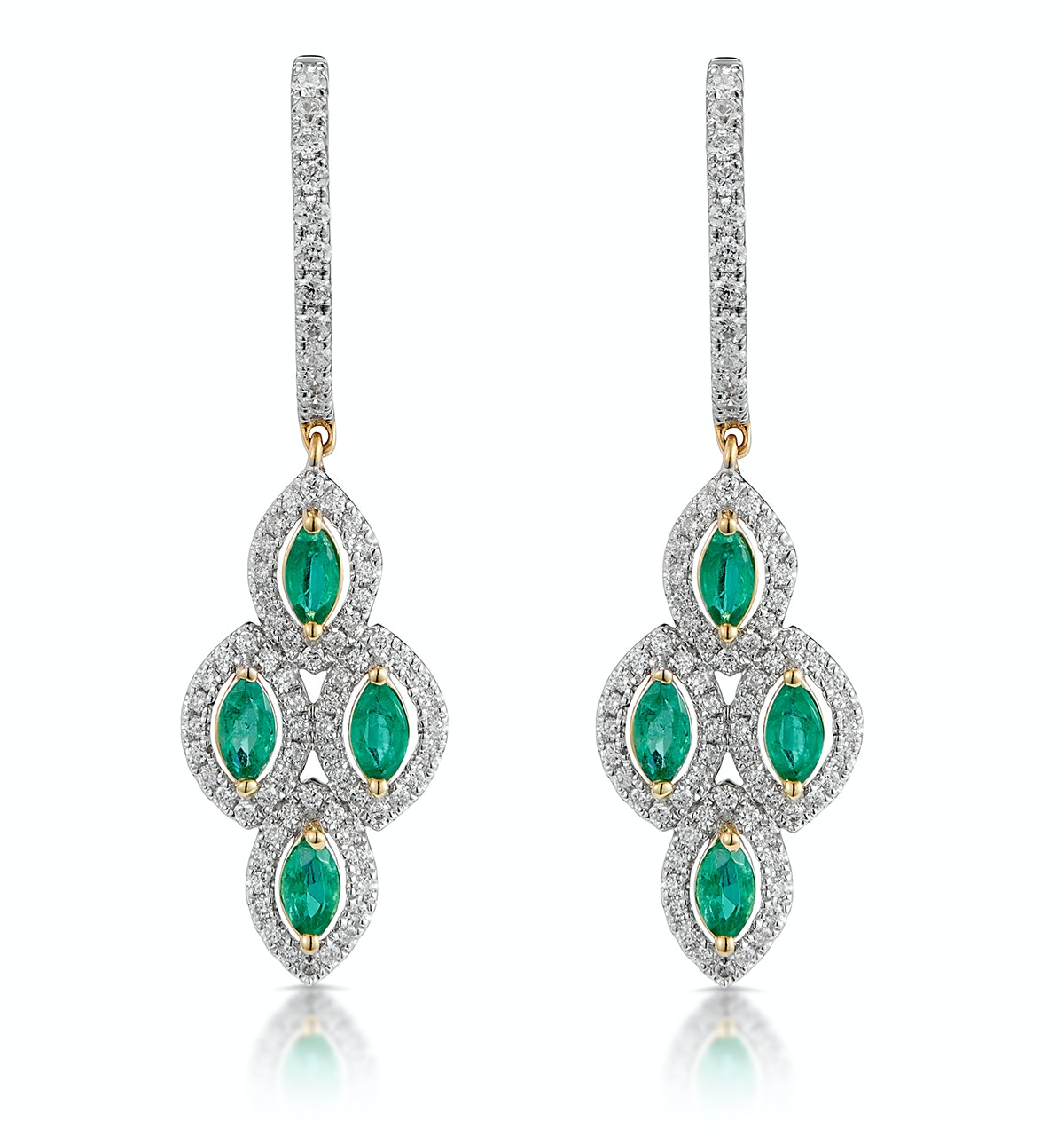 1.10ct Emerald Asteria Collection Diamond Drop Earrings in 18K Gold